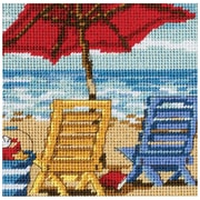 """Beach Chair Duo Mini Needlepoint Kit, 5""""X5"""" Stitched In Thread"""