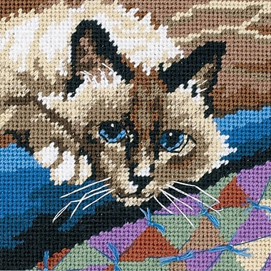 Cuddly Cat Mini Needlepoint Kit, 5
