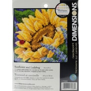 "Jiffy Sunflower And Ladybug Mini Needlepoint Kit, 5""X5"" Stitched In Thread"