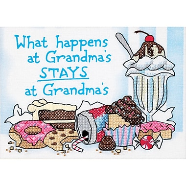 What Happens At Grandma's Mini Stamped Cross Stitch Kit, 7
