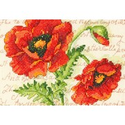 """Poppy Pair Mini Counted Cross Stitch Kit, 7""""X5"""" 14 Count"""