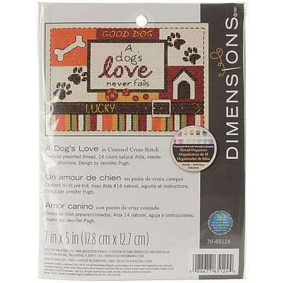 """""A Dog's Love Mini Counted Cross Stitch Kit, 5""""""""X7"""""""" 14 Count"""""" 32221"