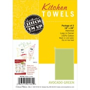 Hemmed Color Dyed Kitchen Towels 18X28 2/Pkg, Avocado Green