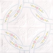 Stamped White Quilt Blocks 18X18 Interlocking Wedding Rings