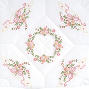 "Stamped White Quilt Blocks 18""X18"" Interlocking Floral & Ribbons"