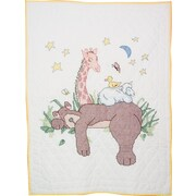"Stamped Baby Quilt Top 36""X50"", Sleeping Bear"