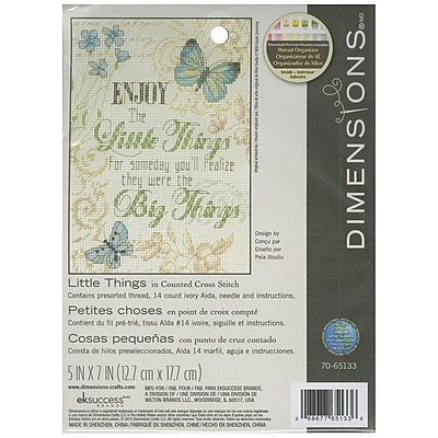 """""Little Things Mini Counted Cross Stitch Kit, 5""""""""X7"""""""" 14 Count"""""" 32189"