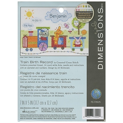 """""Train Birth Record Counted Cross Stitch Kit, 7""""""""X5"""""""" 14 Count"""""" 32210"