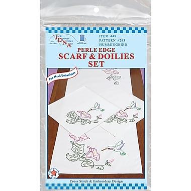 Stamped Dresser Scarf & Doilies Perle Edge, Hummingbird