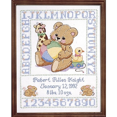 Bear Birth Sampler Stamped Cross Stitch Kit, 11