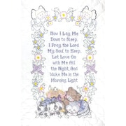 """Stamped White Quilt Crib Top 40""""X60""""-Now I Lay Me Down To Sleep"""