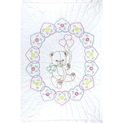 """Stamped White Quilt Crib Top 40""""X60""""-Bear With Balloons"""
