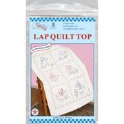 """Stamped White Lap Quilt Top 38""""X58"""", Sunbonnet Sue"""
