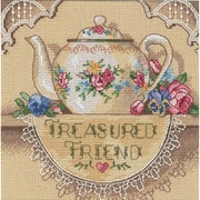 "Gold Collection Petite Treasured Friend Teapot Counted Cross Stitch Kit, 6""X6"" 18 Count"
