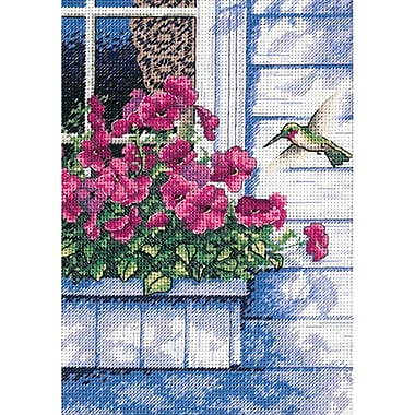 Gold Collection Petite Flowers & Hummingbird Counted Cross Stitch Kit, 5in.X7in. 18 Count