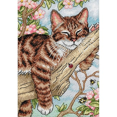 Gold Collection Petite Napping Kitten Counted Cross Stitch Kit, 5