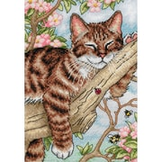 "Gold Collection Petite Napping Kitten Counted Cross Stitch Kit, 5""X7"" 18 Count"