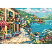 "Gold Collection Petite Overlook Cafe Counted Cross Stitch Kit-7""X5"" 18 Count"