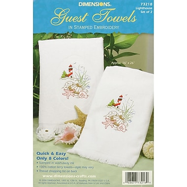 Lighthouse Guest Towels Stamped Embroidery, 16