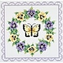 Pansy Wreath Quilt Blocks Stamped Cross Stitch ,