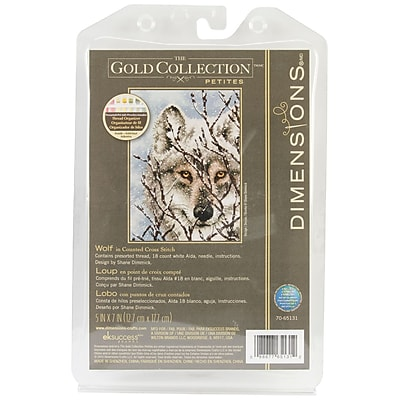 """""""""""Gold Collection Petite Wolf Counted Cross Stitch Kit, 5""""""""""""""""X7"""""""""""""""" 18 Count"""""""""""" 32172"""