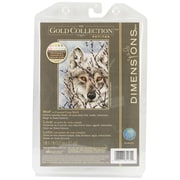 """Gold Collection Petite Wolf Counted Cross Stitch Kit, 5""""X7"""" 18 Count"""