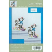 Stamped Kitchen Towels For Embroidery, Cats
