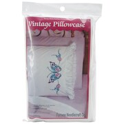 "Stamped Lace Edge Pillowcase 30""X20"", Large Butterfly"