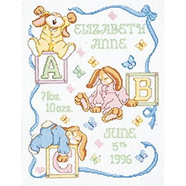 Sleepy Bunnies Sampler Counted Cross Stitch Kit, 11