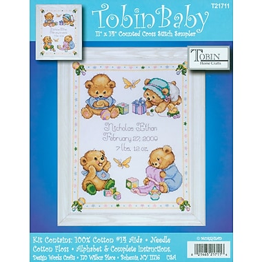 Baby Bears Birth Record Counted Cross Stitch Kit, 11