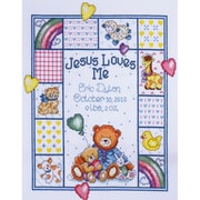 """Jesus Loves Me Sampler Counted Cross Stitch Kit, 11""""X14"""" 14 Count"""