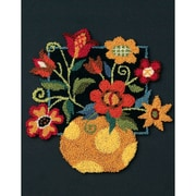 """Floral On Black Punch Needle Kit, 8""""X10"""""""