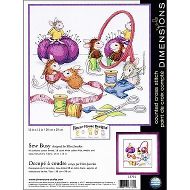 House Mouse Sew Busy Counted Cross Stitch Kit, 11