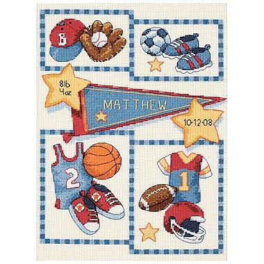 Baby Hugs Little Sports Birth Record Counted Cross Stitch Kit, 12