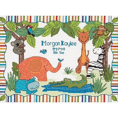 Baby Hugs Mod Zoo Birth Record Counted Cross Stitch Kit, 12