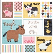"Baby Hugs Barn Babies Birth Record Counted Cross Stitch Kit, 12""X12"" 14 Count"