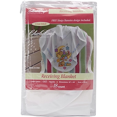 Receiving Blanket, White w/White Satin Binding