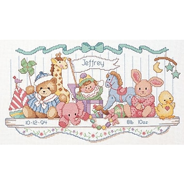 Toy Shelf Birth Record Counted Cross Stitch Kit, 16