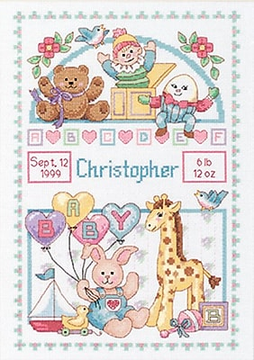 """""Birth Record For Baby Counted Cross Stitch Kit, 10""""""""X14"""""""" 14 Count"""""" 32057"
