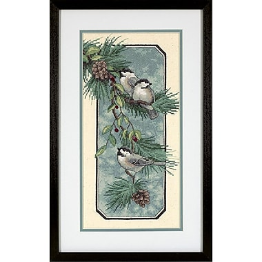 Chickadees On A Branch Stamped Cross Stitch Kit, 8