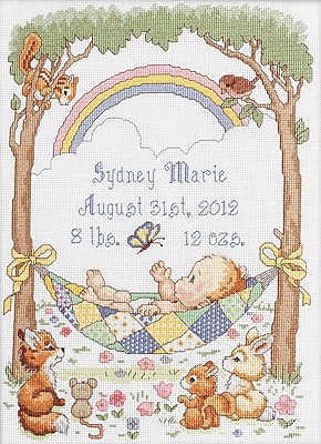 """""Our Little Blessing Birth Record Counted Cross Stitch Kit, 10""""""""X13-1/2"""""""" 14 Count"""""" 32468"