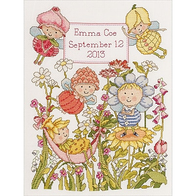 """""Garden Fairies Birth Record Counted Cross Stitch Kit, 10""""""""X13"""""""" 14 Count"""""" 27988"