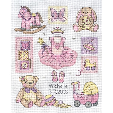 Girl Birth Record Counted Cross Stitch Kit, 9-1/2