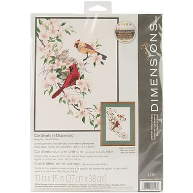Cardinals In Dogwood Crewel Kit, 11