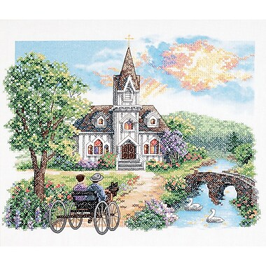 Country Church Stamped Cross Stitch Kit, 14