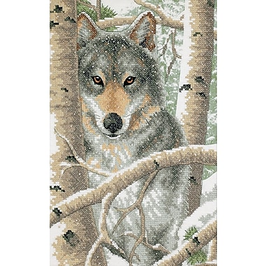 Wintry Wolf Stamped Cross Stitch Kit, 9