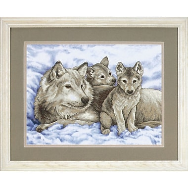 Mother Wolf And Pups Stamped Cross Stitch Kit, 16