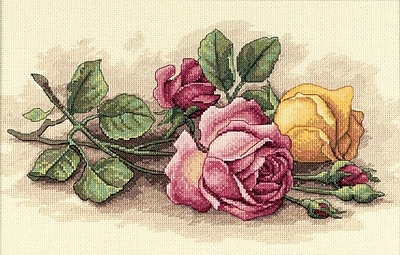 """""Rose Cuttings Counted Cross Stitch Kit, 14""""""""X9"""""""" 14 Count"""""" 31920"