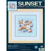 "Shells On Blue Counted Cross Stitch Kit, 10""X10"" 14 Count"