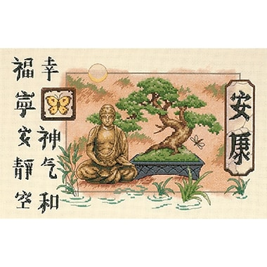 Bonsai And Buddha Counted Cross Stitch Kit, 14